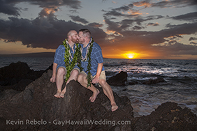 gay wedding on maui secluded beach at sunset in hawaii, gay wedding company on maui
