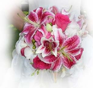 Stargazer bouquet is nice tropical accent for a hawaii wedding