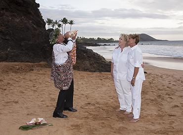 gay beach wedding on maui, hawaii