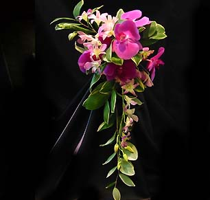 orchid cascade bouquet for a maui wedding