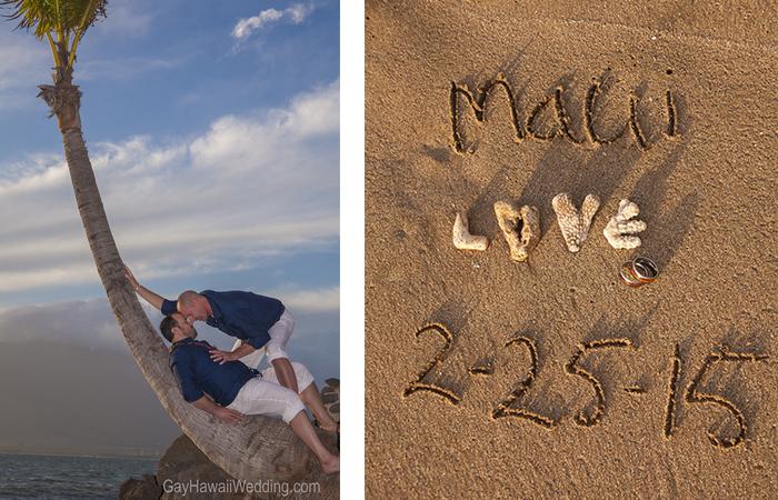 Two gay men's hawaiian beach ceremony