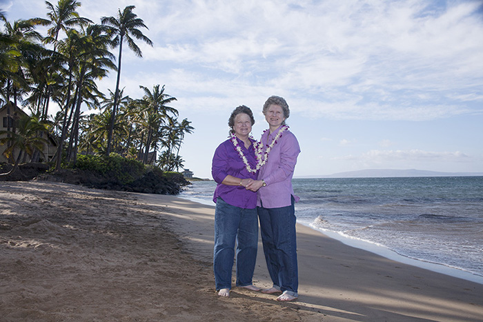 older lesbian wedding on Maui Sunseeker Beach
