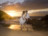 wedding couple at four seasons beach wailea