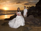 sunset wedding couple on beach