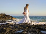 maui wedding bride on rocks