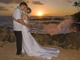 waves crash at wedding at Makena Cove