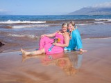ladies in pink and blue dress at maui wedding