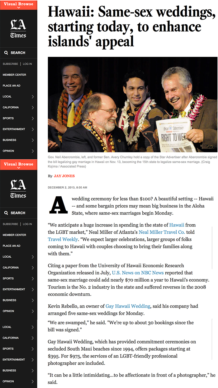 Maui Gay and Lesbian Weddings News Article